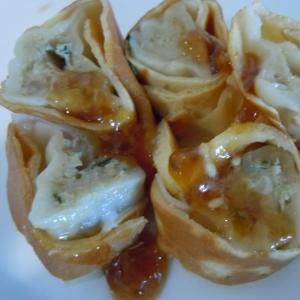 大豆粉で餃子巻き