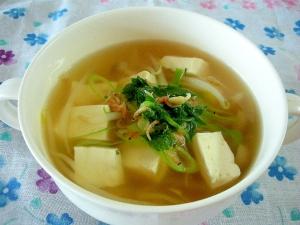 ☆豆腐ともやしのえびジャコ入りコンソメスープ☆