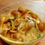レンジでもう一品、ナメコと茄子の胡麻ダレ風味