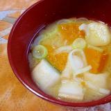 かぼちゃ・麩・長葱の味噌汁