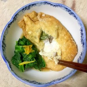豚ひき肉と葱のたまご巾着煮withかき菜。