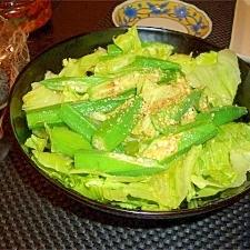 レタスとおくらのごま油風味のサラダ