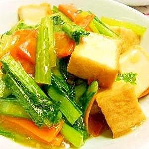 厚揚げと小松菜の炒め