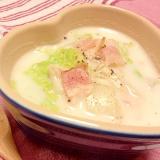 白菜とエノキとベーコンのホワイトクリームスープ♡