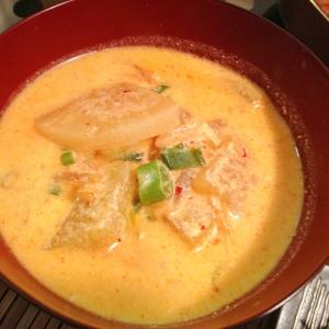 温まる♡豆乳キムチスープ
