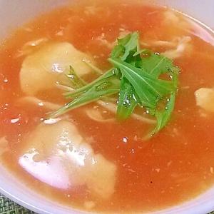 風邪引きさんにも!トマトと卵の中華風スープ