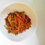 焼豚と牛肉の野菜炒め