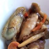 鶏肉と根菜ミックスの照り焼き炒め