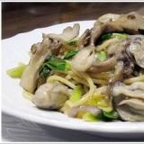 牡蠣と舞茸、小松菜のスパゲッティ