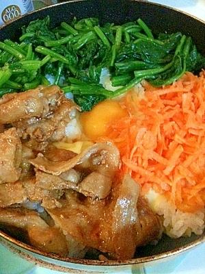 フライパンdeお野菜たっぷりビビンバ