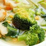 減塩!ブロッコリーの皮付き茎も❤花麩の味噌スープ♪