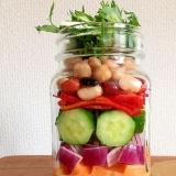 メイソンジャー6種類野菜+4種類豆サラダ