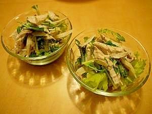 鳥胸とごぼうと水菜のつぶマスタードサラダ