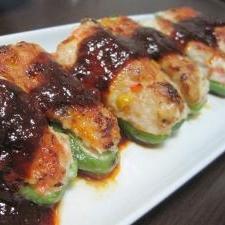 高野豆腐でボリュームアップ!ピーマンの肉詰め