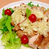 鶏のフライパン焼、玉ねぎの洋風ドレッシングがけ