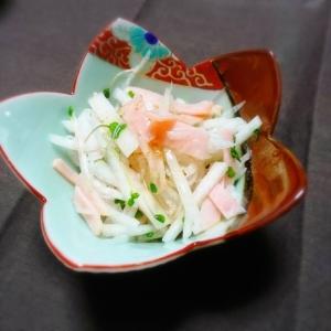 大根とブロッコリースプラウトとハムの梅肉サラダ