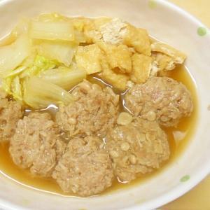 えのき入り肉団子と白菜・油揚げの煮物
