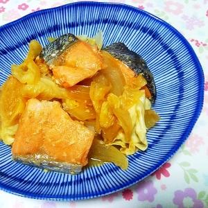 鮭とキャベツのにんにく味噌バター煮
