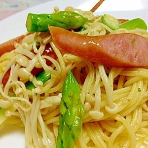 えのきでかさましアスパラとウインナースパゲティー
