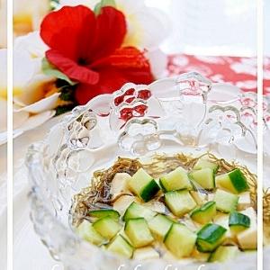 コロコロ♪胡瓜&豆腐入り、もずく酢