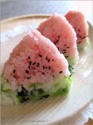 飾り巻き寿司・キンキンに冷えたスイカいかが~♪