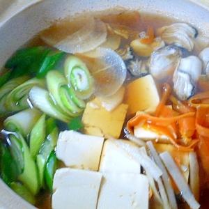 薄切り野菜ですぐお鍋、牡蠣入り