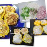 【ハンバーグ】パプリカでお花の形の豆腐ハンバーグ