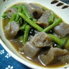 ホッコリ味(/・ω・)/蒟蒻とインゲンの煮物☆