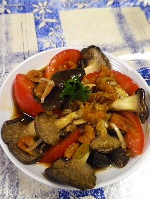 平茸トマトの干し海老サラダ