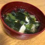 小松菜とえりんぎの味噌汁