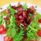 簡単❤水菜とトマトの☆カリカリベーコンサラダ♪