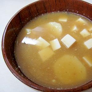 *大和芋と豆腐のネットリ味噌汁*