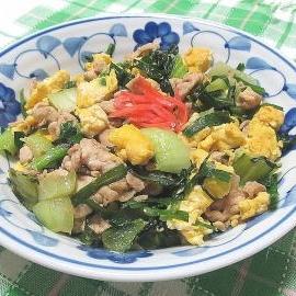 豚ニラちんげん菜の卵炒め