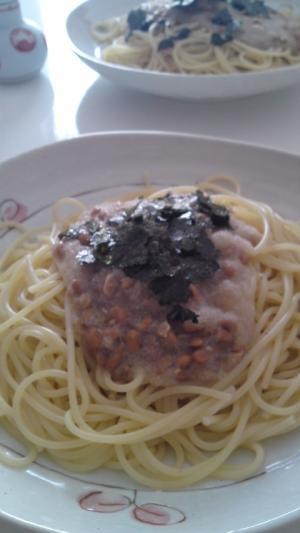 納豆おろしスパゲティ柚子コショウ風味