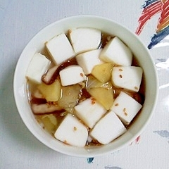はんぺんのスープに林檎も入れて~♪
