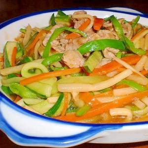 ピーマンと竹の子のあんかけ生姜焼き