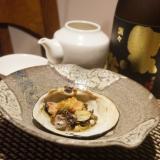 北寄貝とフキノトウの貝焼き