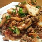 ひき肉と春雨のキムチ炒め