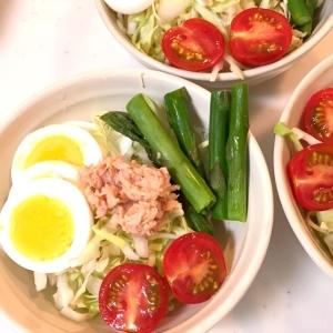 旬のアスパラが美味しい!野菜たっぷり、新鮮サラダ♪
