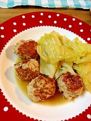 簡単ヘルシー 鶏だんごとキャベツの煮物