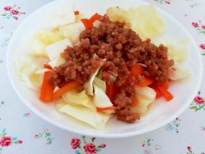 味噌そぼろで簡単温サラダ