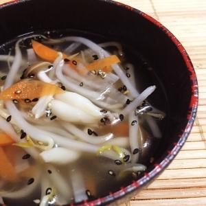 もやしとしめじの中華スープ
