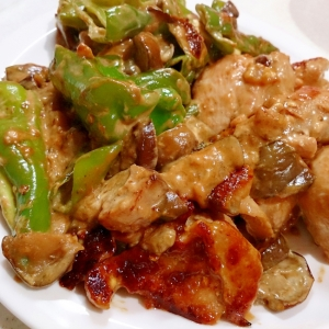 鶏肉とピーマンのオイスターマヨニンニク炒め