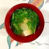 春菊、塩とうふ、ヤーコンのお味噌汁