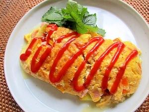 ズッキーニと魚肉ソーセージのオムレツ