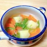 じゃがいもと人参と水菜のスープ