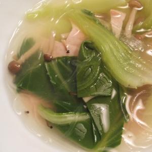チンゲン菜とハムの春雨スープ