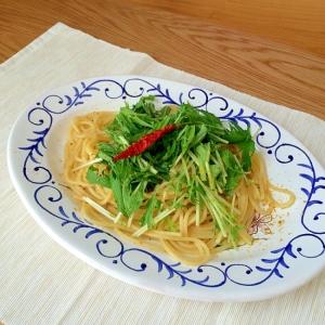 水菜とカラスミのペペロンチーノ