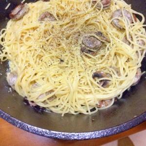 マッシュルームソーセージ卵スパゲティ