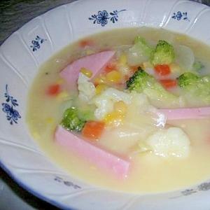 冷凍洋風ミックスでコーンスープ